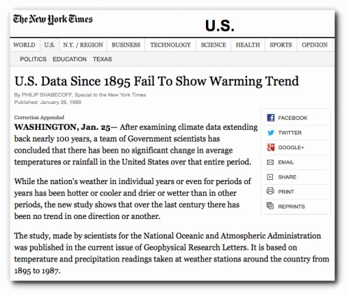 nytimes 1989 no warming trend 100 years
