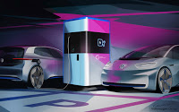 Volkswagen cars charging at mobile station (Credit: Volkswagen) Click to Enlarge.