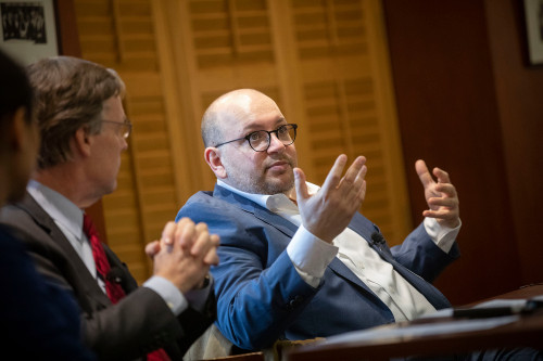 Washington Post reporter Jason Rezaian (right) recounts his 544 days in an Iranian prison during a talk with R. Nicholas Burns of the Harvard Kennedy School.
