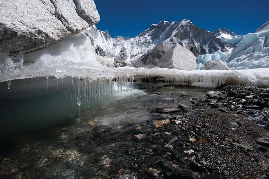 The Khumbu Glacier in Nepal, pictured in 2009, is one of the Himalayan glaciers threatened by global warming, a new report suggests.