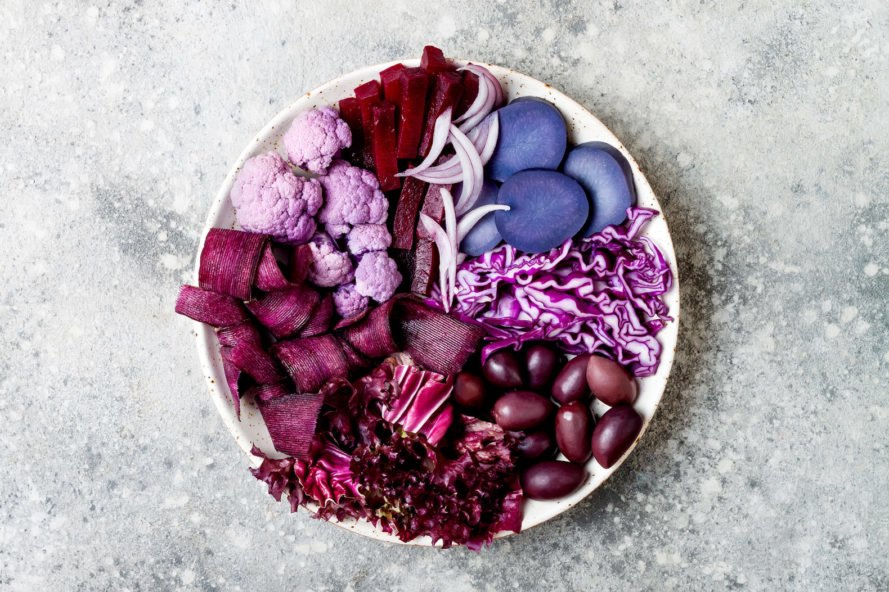 bowl filled with purple vegetables