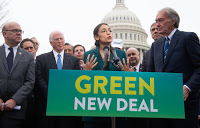 The non-binding Green New Deal resolution, initially sponsored by House newcomer Alexandria Ocasio-Cortez of New York and Senate veteran Edward Markey of Massachusetts, sets out to transform the economy to carbon-free energy. (Credit: Saul Loeb/AFP/Getty Images) Click to Enlarge.