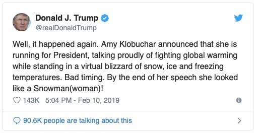 tweet klobuchar blizzard global warming