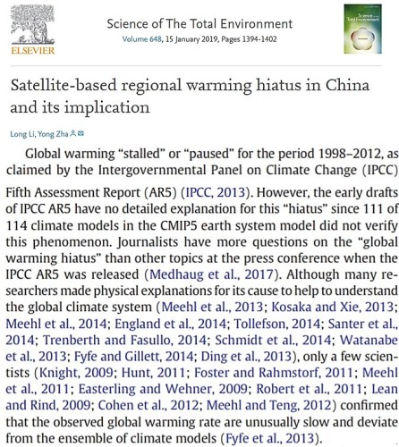 global warming pause Li And Zha paper