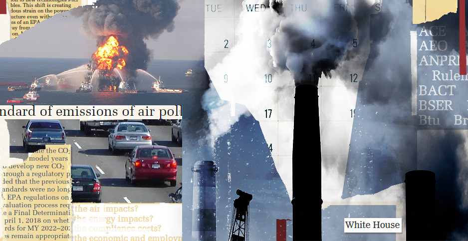 Regulations photo illustration. Claudine Hellmuth/E&E News(illustration); Chris McInnis and Dave Sizer/Flickr(smoke stack);US Coast Guard(Deepwater Horizon); Minesweeper/Wikipedia(cars); RawPixel(calendar); Federal Register(documents)