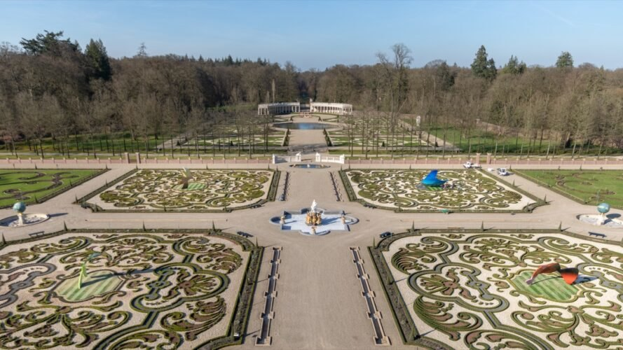 aerial view of garden with sculptures