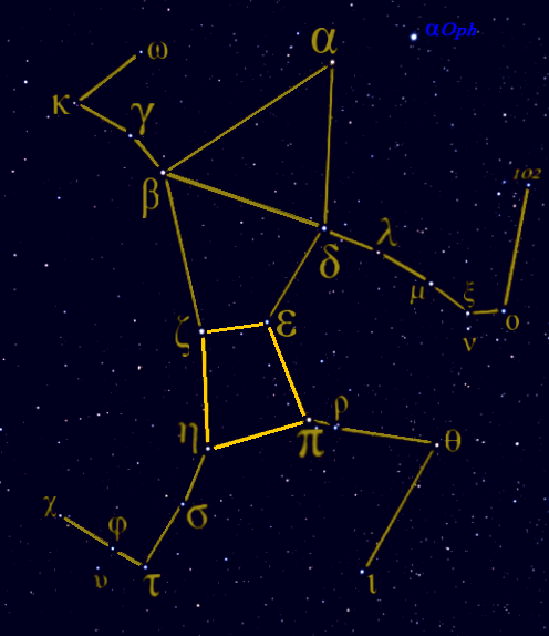 Constellation Hercules, with its prominent Keystone asterism marked.
