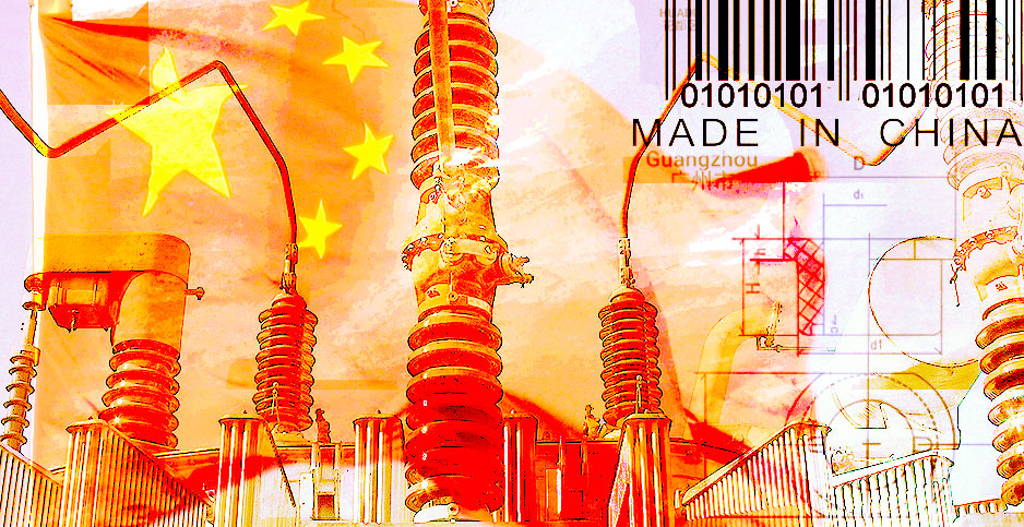 Photo collage illustration of Chinese flag and transformer bushings. Credits: Claudine Hellmuth/E&E News(illustration); Daderot/Wikipedia(flag); Federico Candoni/Flickr (transformer bushings); Library of Congress (diagram)