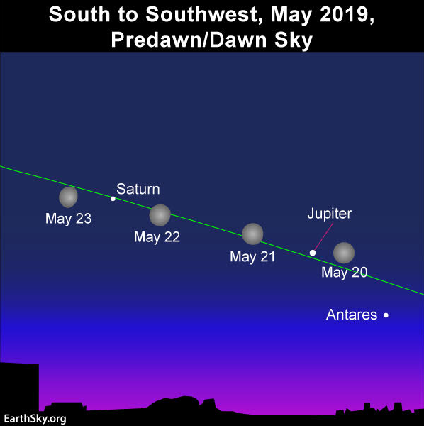 Sky chart of the nearly full moon, Jupiter and Saturn in the May morning sky.