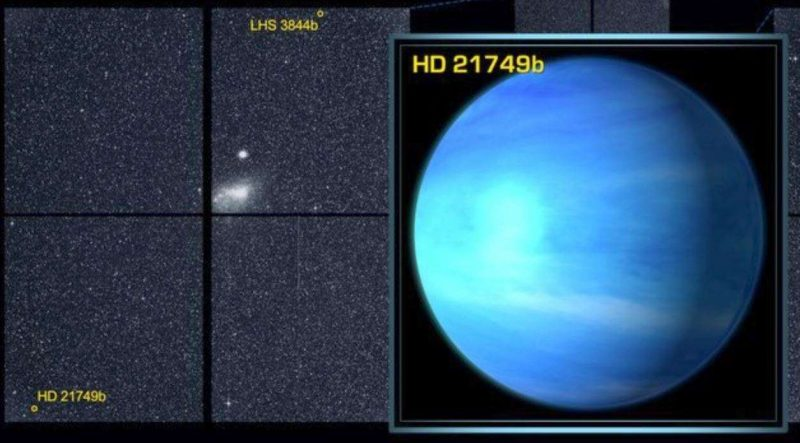Left panel: planet's location. Right panel: Blue planet with faint white bands.