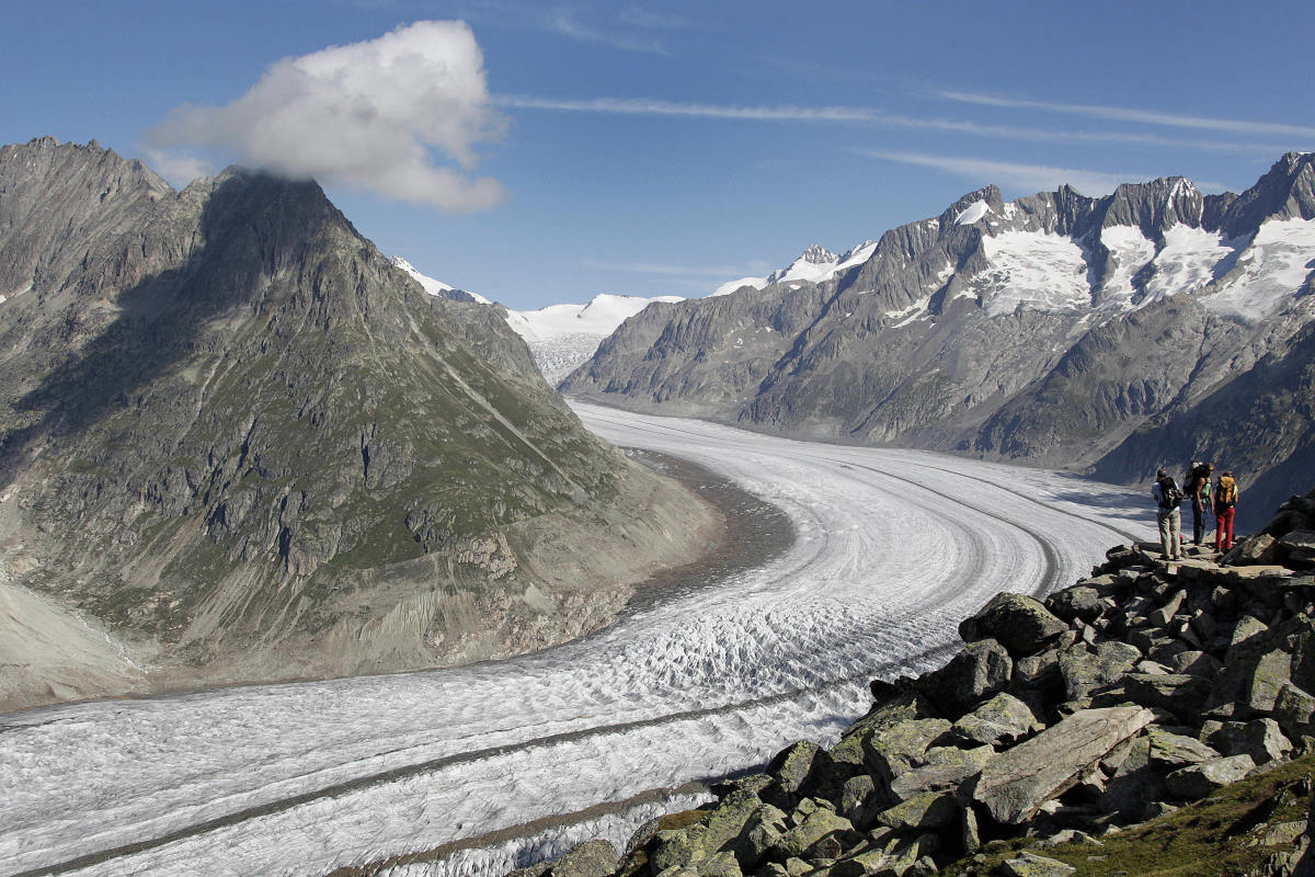 The Aletsch glacier, the largest in the Alps, continues toward the river Rhone.