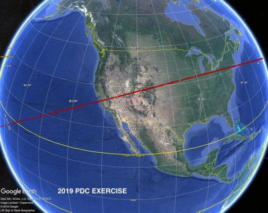 Google Earth image of Earth, with a red line shown across the middle of the U.S.: the 'risk corridor.'