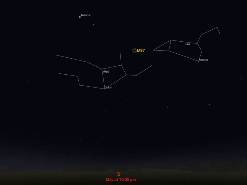 Star chart showing constellations Virgo and Leo, with M87 between them.