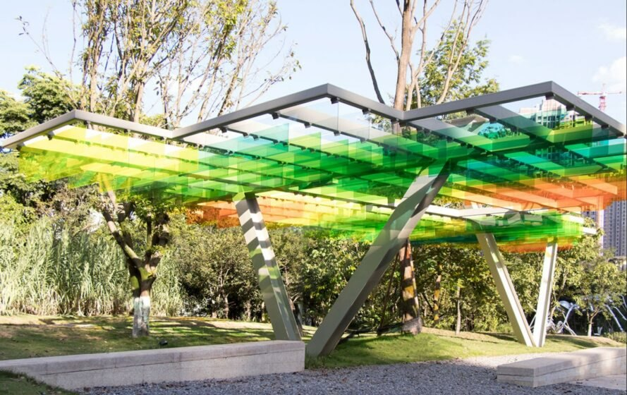 colorful shading canopy in a park
