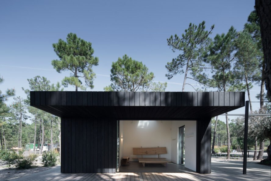 black cabin with wide opening