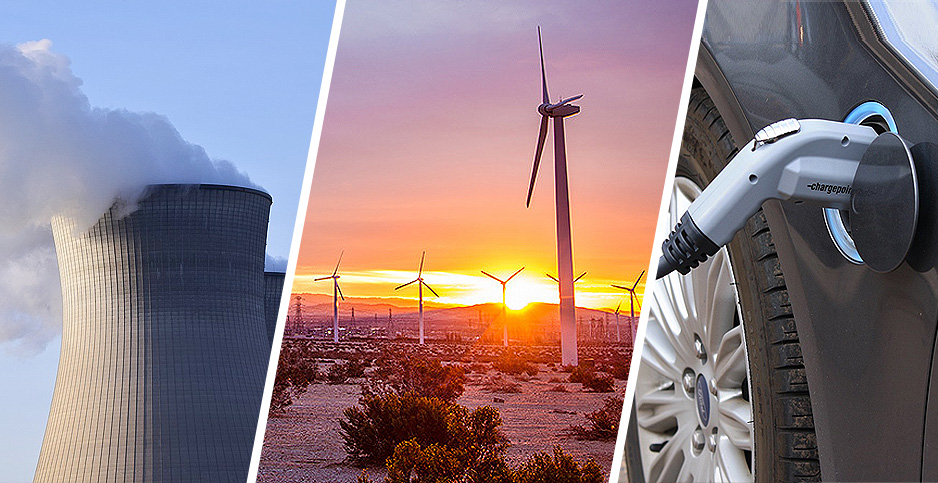 Nuclear, Wind and EV chargers. OPhoto credit ulleo/Pixabay(Nuclear);Tony Webster/Wikimedia Commons(Wind Turbines);Noya Fields/Flickr(EV charger)