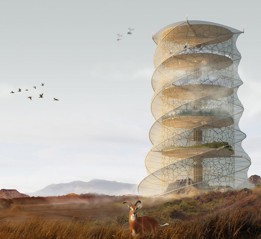rendering of curvy skyscraper on a wild landscape
