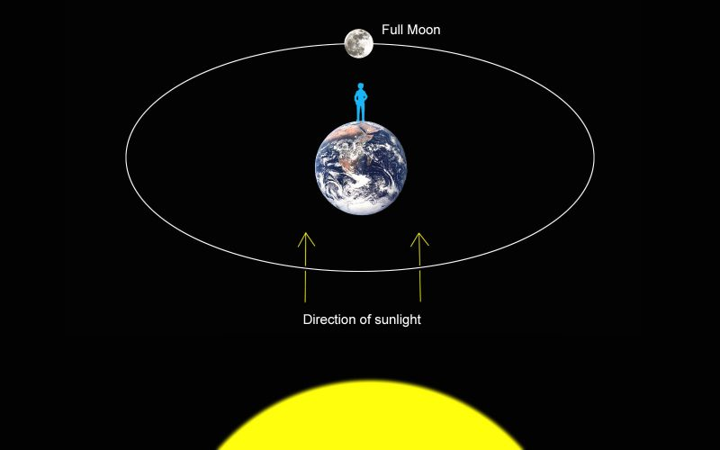 Diagram showing a full moon on the opposite side of Earth from the sun.
