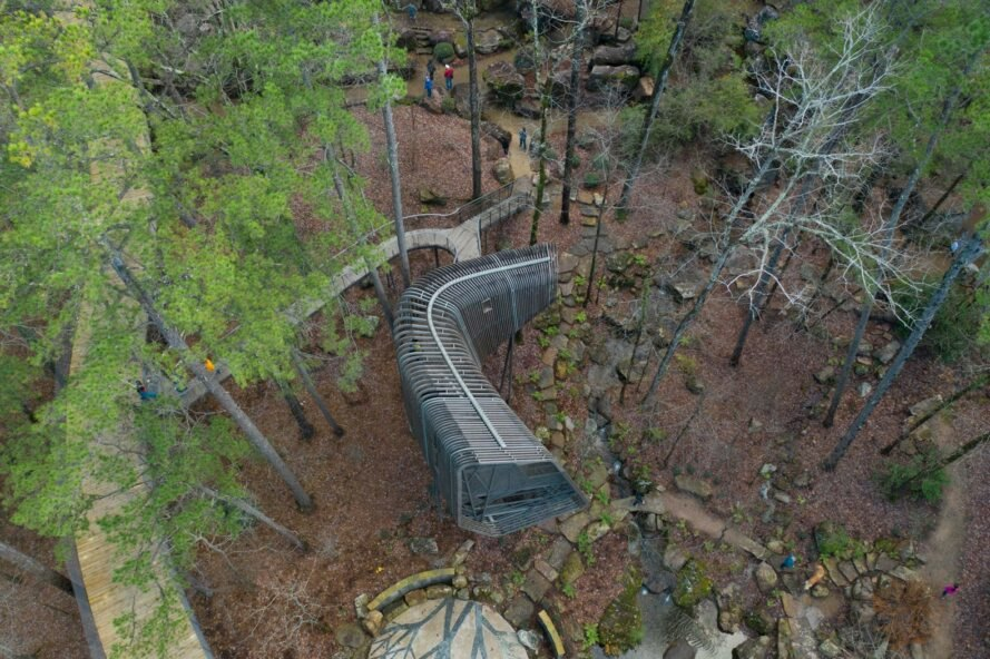 aerial view of elevated pine treehouse in forest surrounded by greenery and tall trees