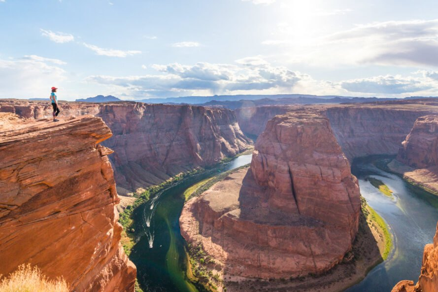 woman enjoying view of Horseshoe bend, Arizona