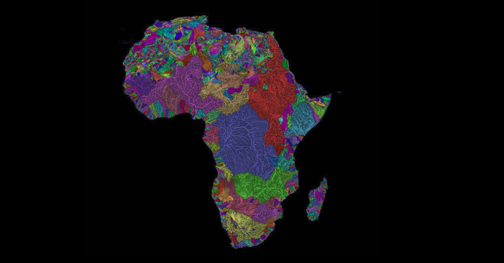 For the hydrographic maps, he uses Strahler Stream Order Classification, which defines stream size based on hierarchy of tributaries. Photo: Grasshopper Geography