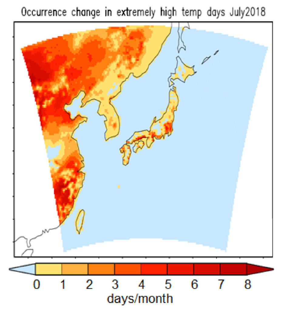Map showing The difference in the number of extremely hot days expected in July in today's world and a world without climate change across Japan. Yellow indicates little to no difference in the number of hot days in today's world and a world without climate change, while red indicates a difference of up to eight days. (The map also includes parts of eastern China, Russia and North and South Korea.) Source: Imada et al. (2019)