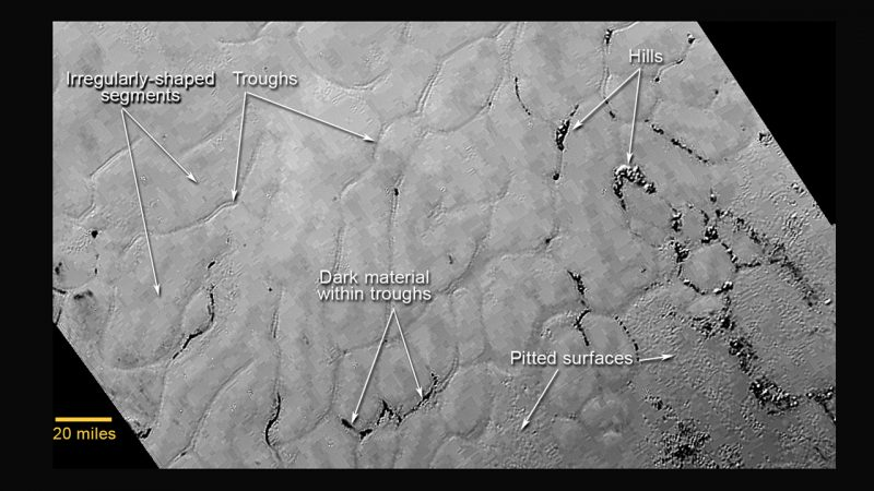 Icy flat areas divided by very thin lines and lines of tiny dark pits.