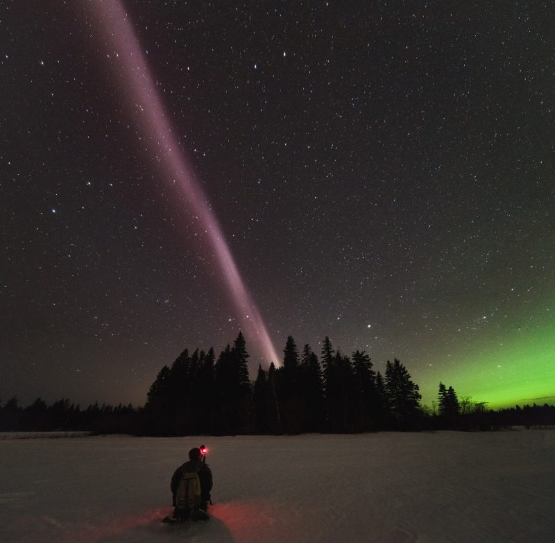 Long beam of pink light shooting into the sky from behind small forested island.