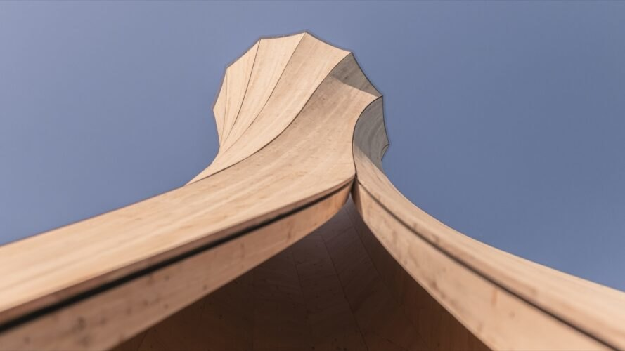 worm's eye view of twisted wood sculpture