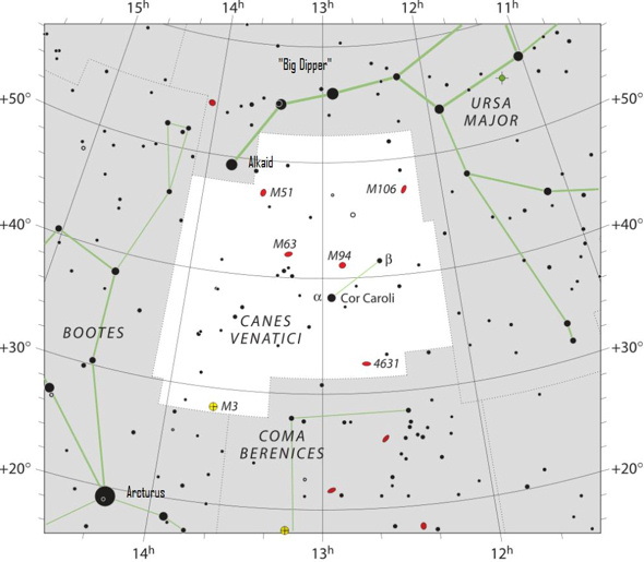 Star chart with stars black on white background of constellation Canes Venatici.