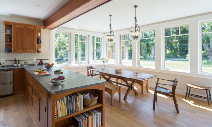 interior living and dining room with large wood table