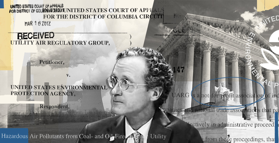 Illustration of Supreme court, coal plant, Bill Wherum, UARG. Credit: peggydavis66/Flickr(power plant);Pamela King/E&E News(Supreme Court); Environment and Public Works Committee(Wehrum); federal court records(documents)