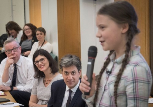 Greta Thunberg speaking to MPs