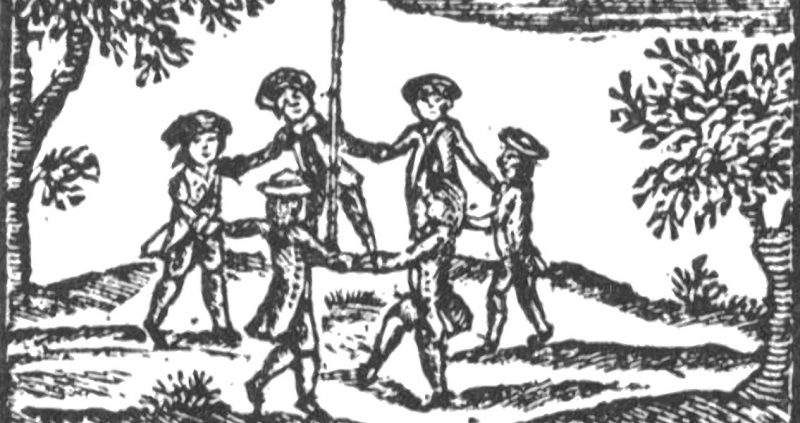 Antique woodcut of eighteenth century boys dancing with linked hands around a pole.