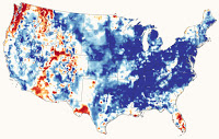 Shallow groundwater wetness percentile (Credit: e360.yale.edu) Click to Enlarge.