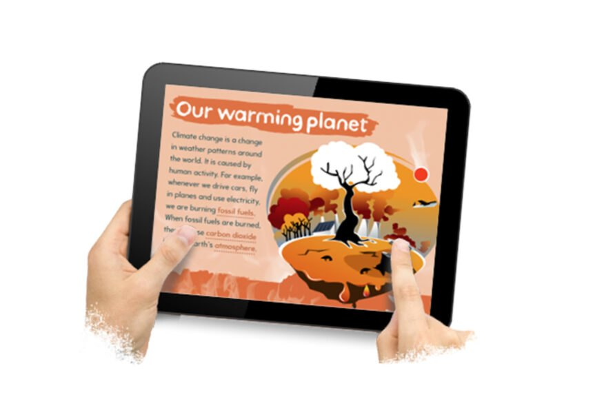 tablet with a teaching app for kids to learn about the environment