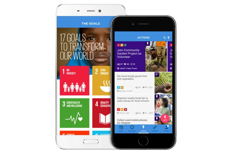 smartphone with app for information on poverty and climate change