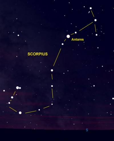 Star chart with stars and connecting lines making up constellation Scorpius.