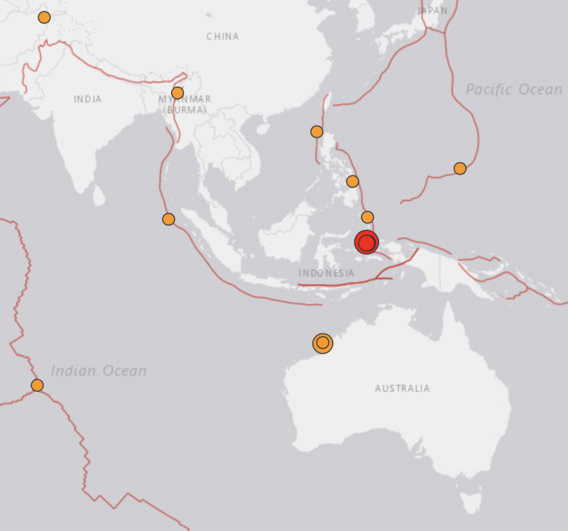 Map from India to Australia showing fault lines and locations of quakes.