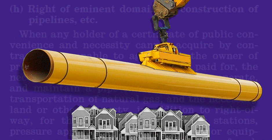 Photo illustration with gas pipeline and houses. Credits: Claudine Hellmuth/E&E News(illustration); David Jay Fullmer/Wikipedia(houses); ProjectManager/Wikipedia(pipeline); GovInfo/Natural Gas Act(document)