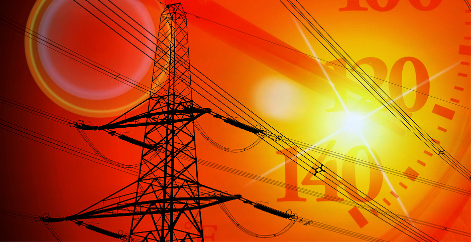 Heatwave power grid lines photo illustration. Credits: Claudine Hellmuth/E&E News(illustration);Andrew Martin/Pixabay(power lines); Lindsey White/Pixabay(thermometer); PublicDomainPictures.net(sun flare)