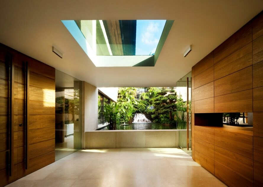 large, spacious room with skylight and large window