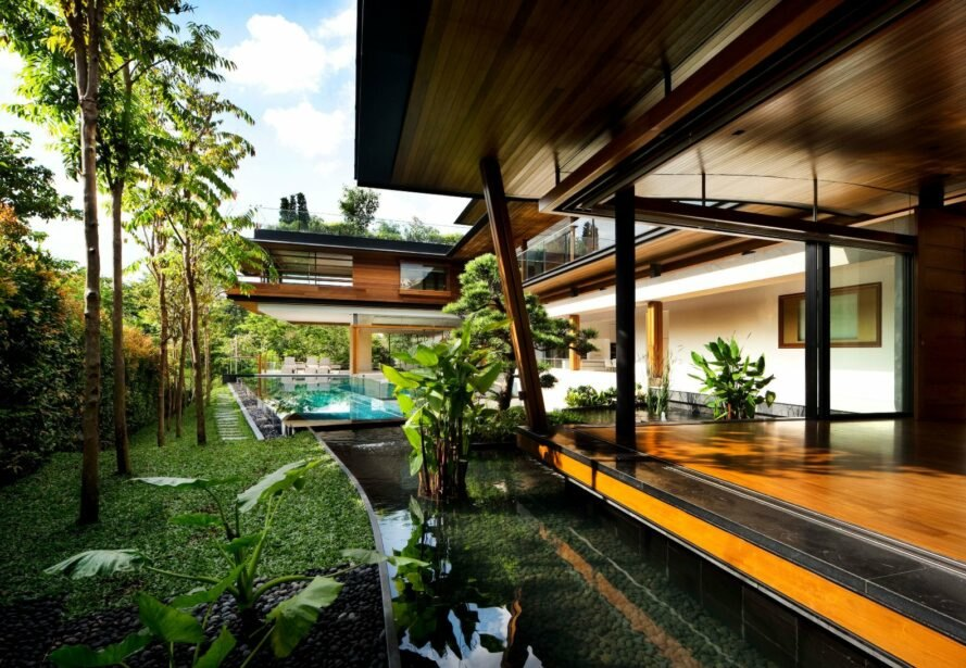 outside deck of home with a swimming pool