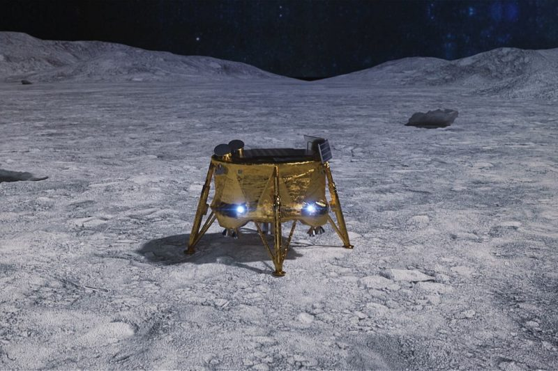 Boxy flat-topped Lander with four jointed legs and two bright lights.