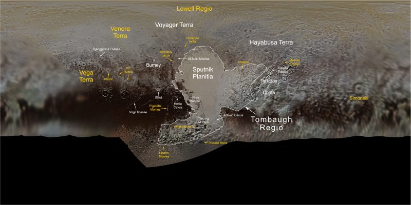 Map with Pluto feature names marked.