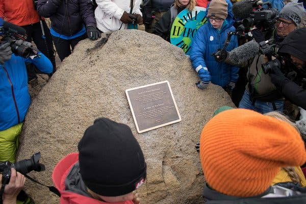 A plaque was unveiled on Sunday at the site of Okjokull, the first glacier lost to climate change in Iceland.
