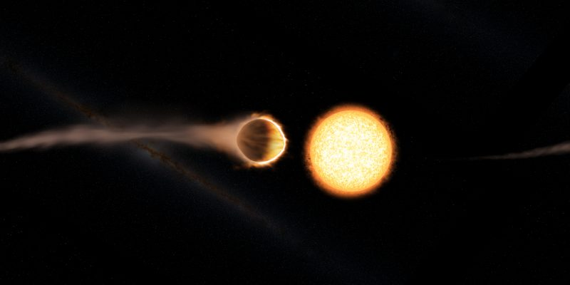 Atmosphere of giant planet streaming into space.