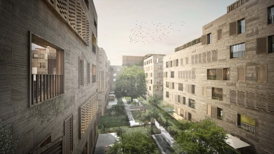 rendering of lush gardens between wood buildings