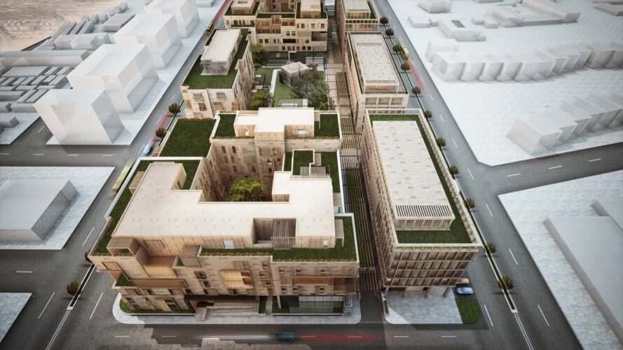 rendering of buildings with green roofs