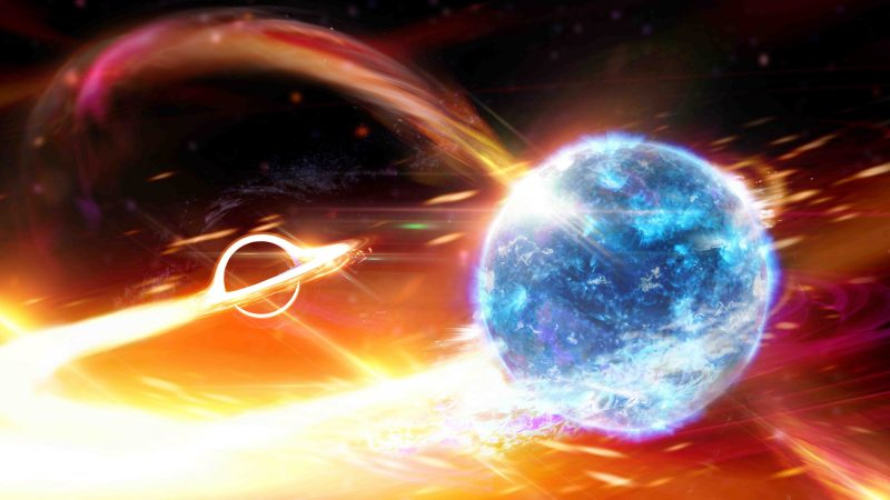 Black hole swallows neutron star, with all appropriate flashy colors and swirly things.